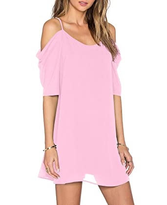 1be23927f220 Unbranded  Womens Spaghetti Strap Cold Shoulder Trumpet Sleeve Summer  Chiffon Jersey Beach Short Dress Pink