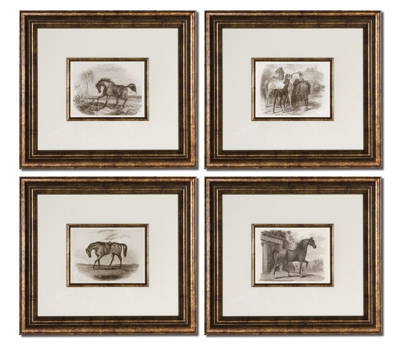 Equestrian Horse Ranch Vintage Wall Art Prints Set | Bronze Framed by Intelligent Design