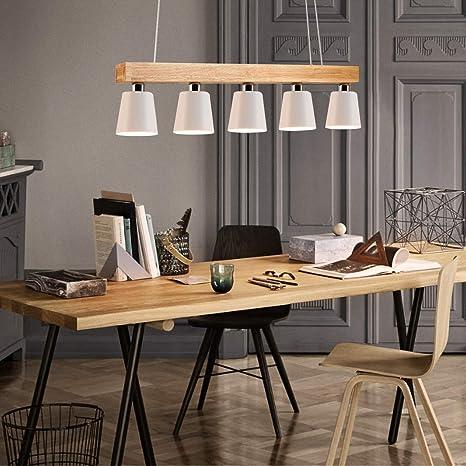 ZMH Lámpara Colgante Comedor Iluminación Interior Araña de Techo de Metal y  Madera Altura Ajustable con 5 bombillas 3W (incluidas) Blanco Cálido para  ...
