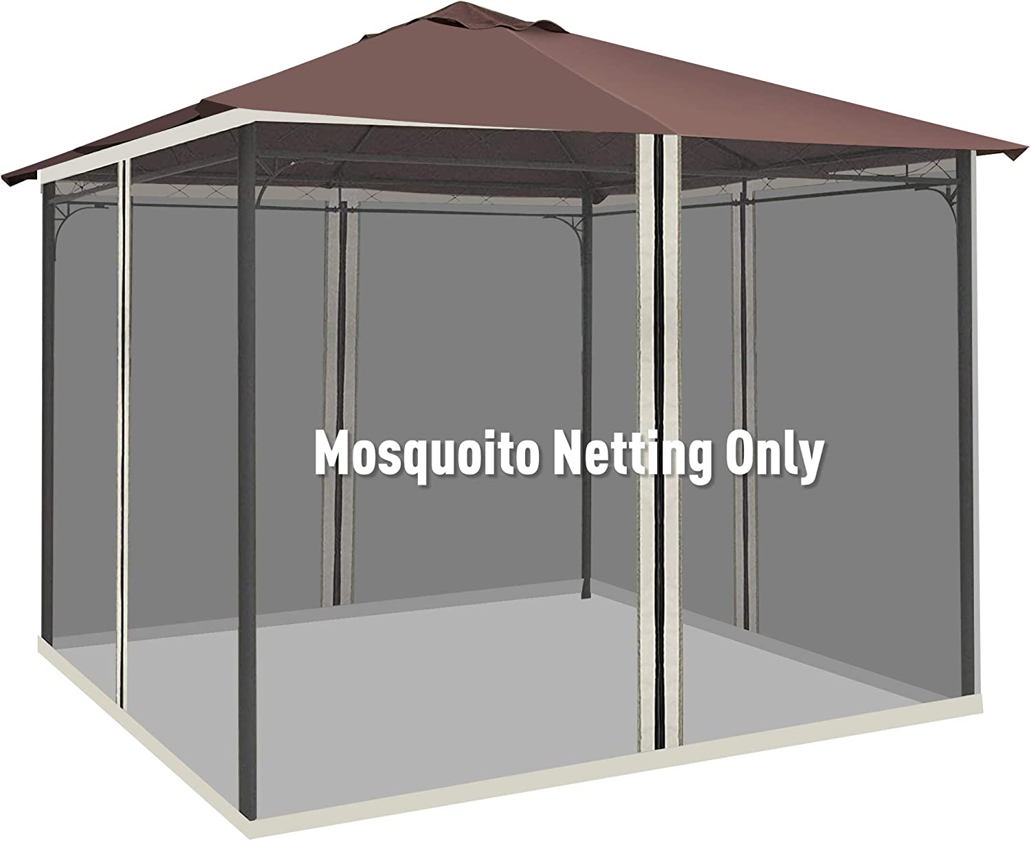 Outsunny 10' x 10' Universal Replacement Mesh Sidewall Netting for Patio Gazebos with Zippers, (Sidewall Only) Black