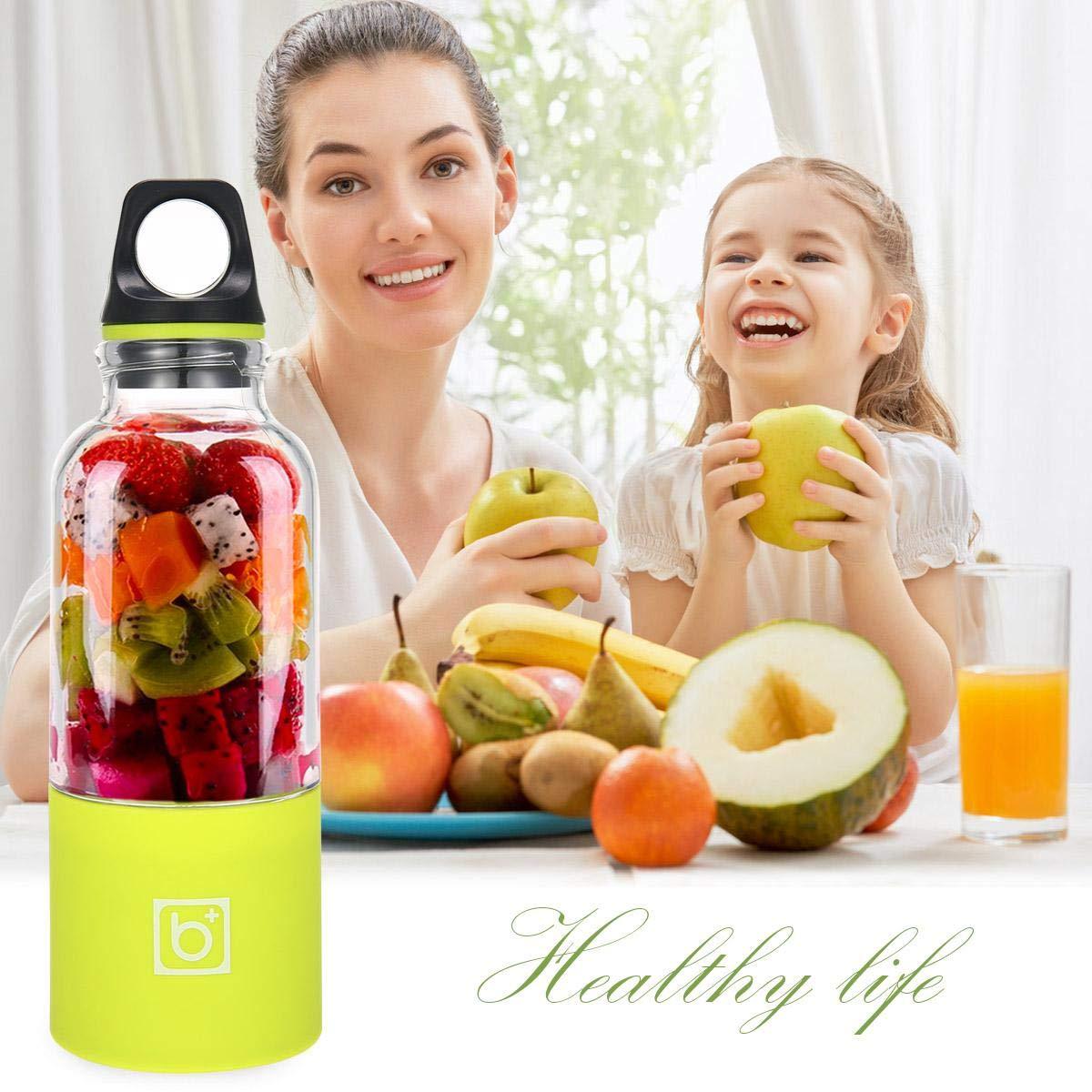 500ML Portable Rrechargeable jus Blender /électrique et 4PCS pour le M/élange de Fruits Mixeur des Fruits Rechargeable avec USB une Tasse de Bouteille de Smoothie et un M/élangeur de jus Portable