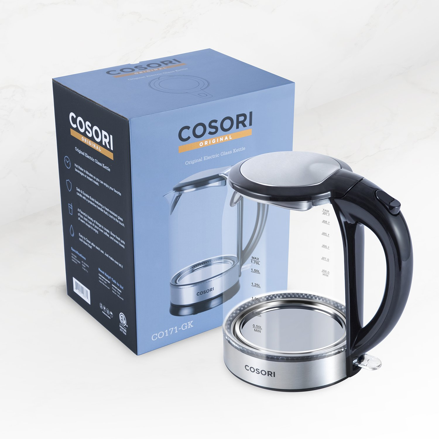 COSORI 1.7L Electric Kettle(BPA-Free), Cordless Glass Boiler,Coffee Pot,Water & Tea Heater with LED Indicator,Auto Shut-Off & Boil-Dry Protection,100% Stainless Steel Inner Lid & Bottom,1500W,CO171-GK by COSORI (Image #9)