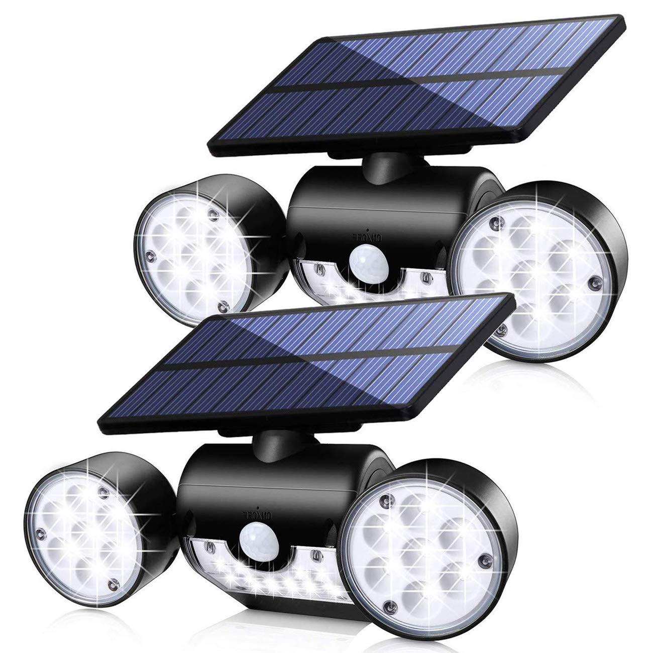 Fatpoom Solar Lights Outdoor with Motion Sensor, Solar Powered Wall Lights with Dual Head Spotlights 30 LED Waterproof 360° Adjustable Rotatable Solar Motion Security Lights Outdoor for Garden 2Pack by Fatpoom