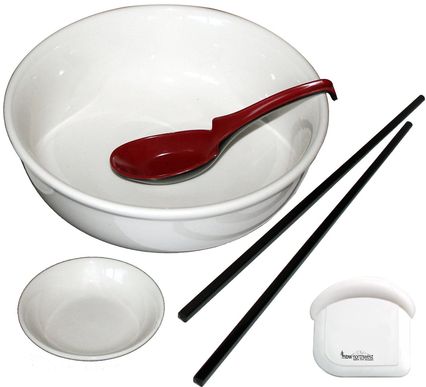 Cameo Ceramic Pho Noodle Soup Bowl Set with Pan Scraper, 9.25 Inch, 72 Ounce, Includes a Hooked Soup Spoon, 3.75'' Sauce Dish and a Pair of Chopsticks