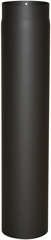 Kamino - Flam – Tubo para chimenea y estufa de leña, Conducto de humos, Tubo vitrificado, EN 1856 – 2, Negro, Ø 120 mm/longitud 750 mm