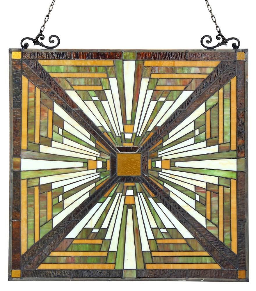 Chloe Lighting Innes Tiffany-Glass Mission Window Panel 24.5 x 26