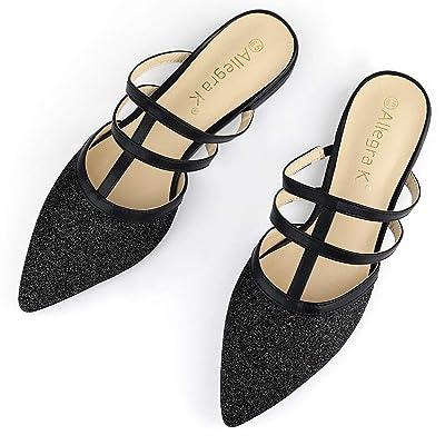 Allegra K Women's Glitter Pointed Toe T Strap Flat Mules | Flats