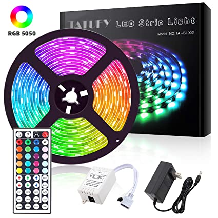 5M SMD RGB 5050 Waterproof LED Strip light 300 /& 44 Key Remote /&12V Supply Power