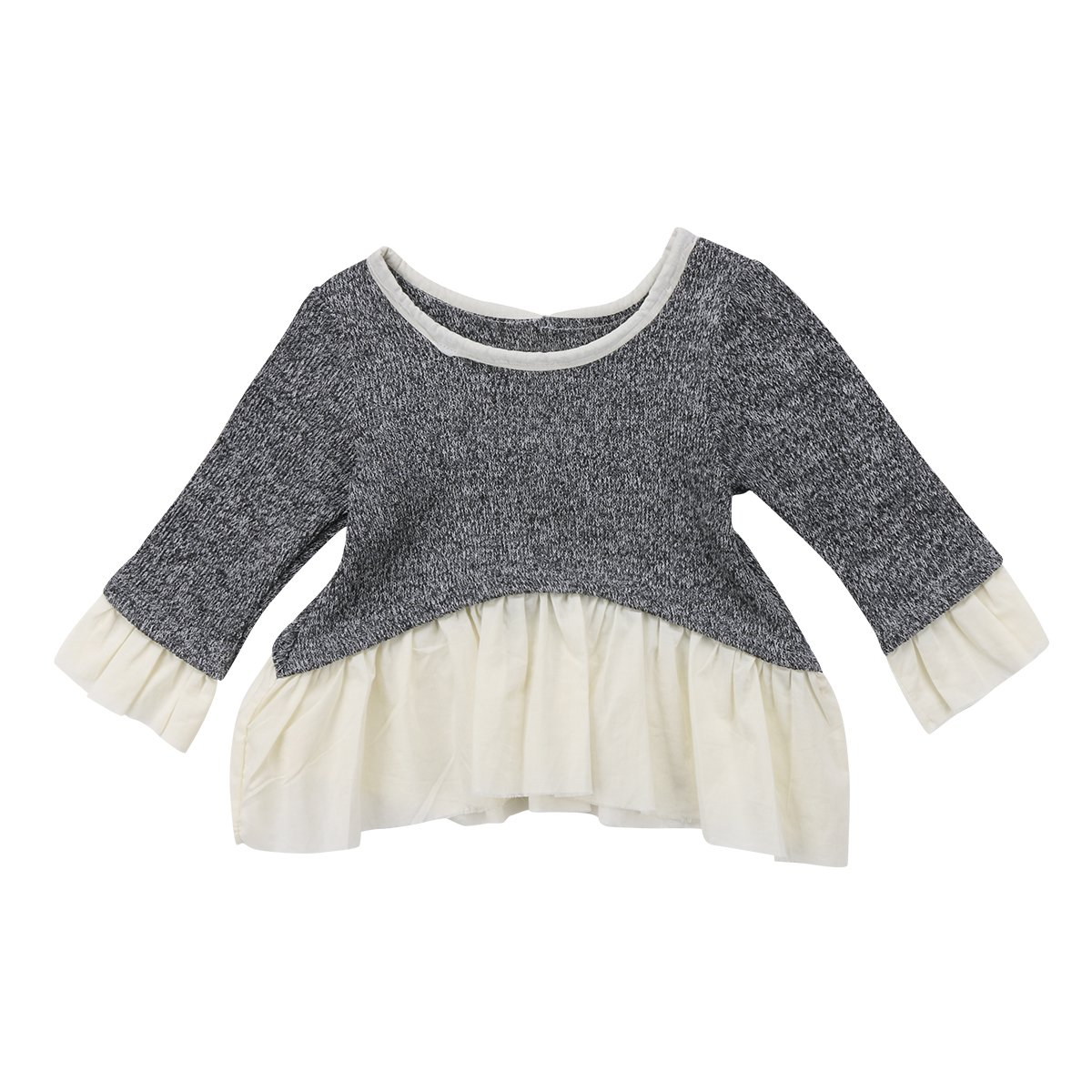 Lahyra Newborn Baby Girl Long Sleeve Top Knitted Sweater Ruffle Blouse Casual Clothes