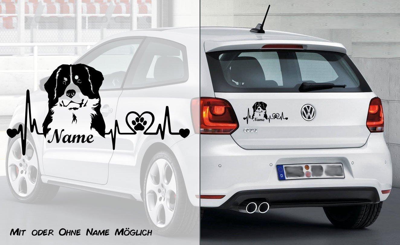 Berner Sennenhund Heartbeat 1 Wunschtext mit Name Auto Aufkleber Individuell Hunde Aufkleber Heckscheibe Aufkleber