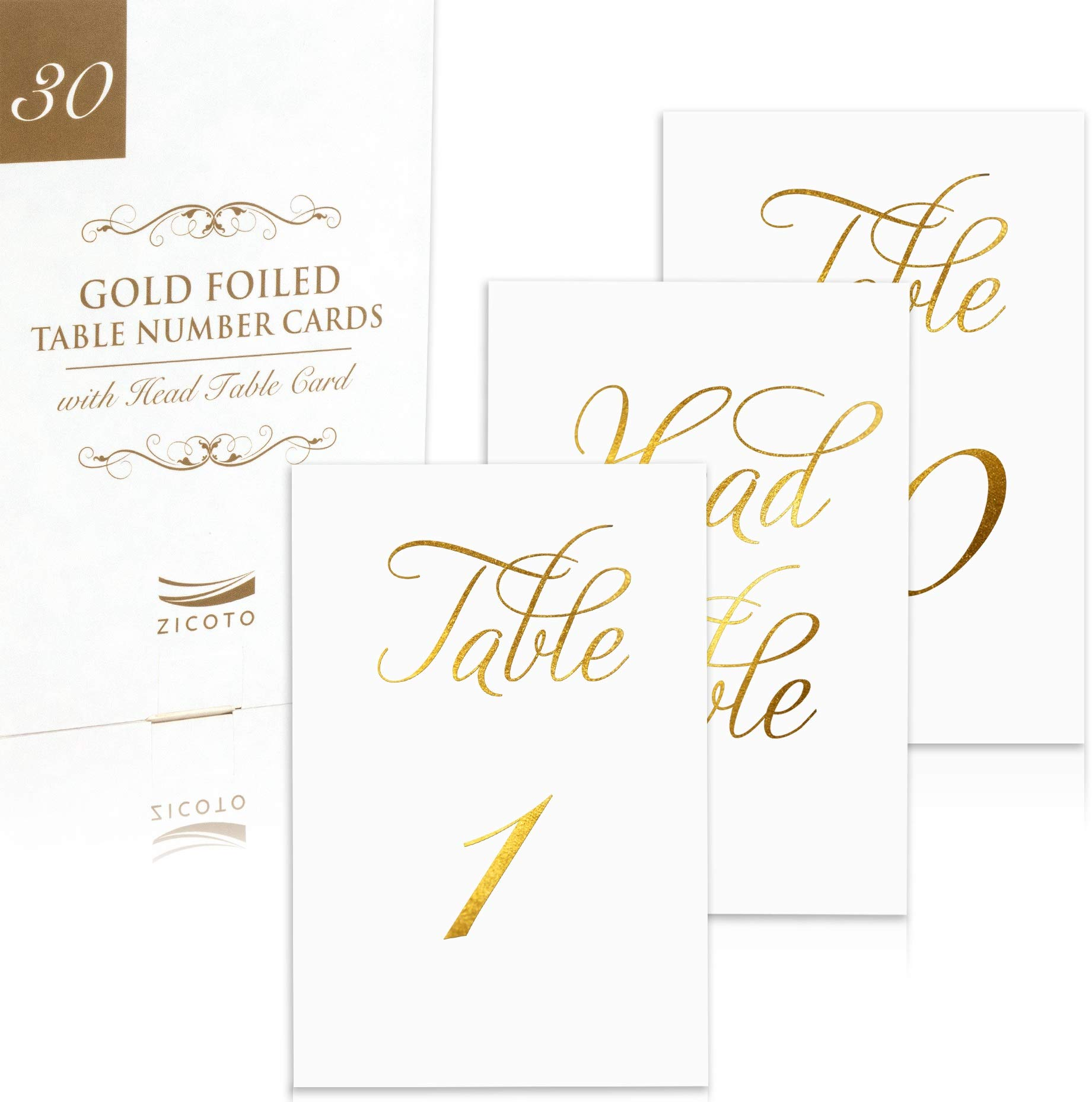 Classy Gold Wedding Table Numbers in Double Sided Gold Foil Lettering with Head Table Card - 4 x 6 inches and Numbered 1-30 - Perfect for Weddings and Events by ZICOTO