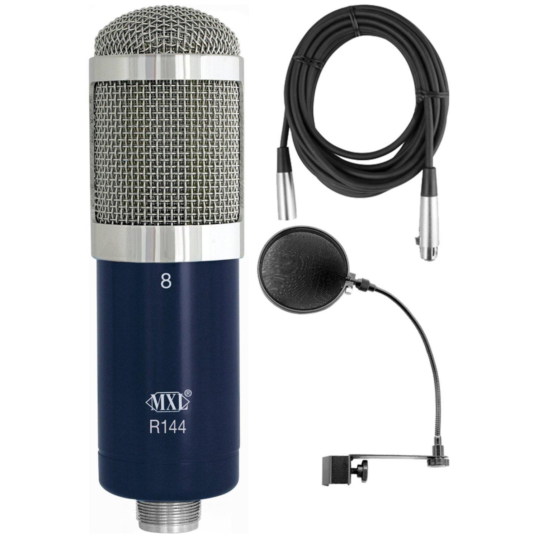 MXL R144 Studio Ribbon Microphone + Pop Filter + XLR Cable Bundle