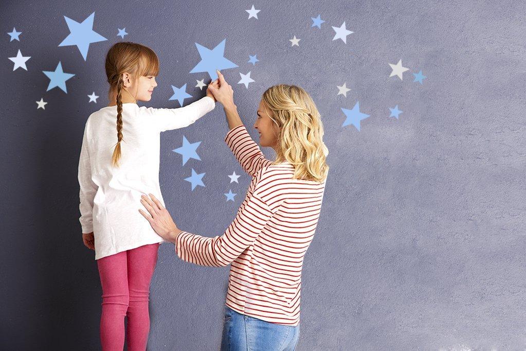 Wandtattoo Sterne f/ürs Kinderzimmer Blau Pastell 50 Stk