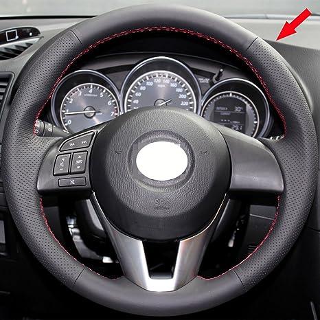 Eiseng DIY Black Genuine Leather Steering Wheel Cover Custom Fit For Mazda  6 M6 2014 2015