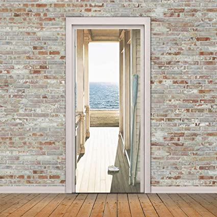3D Door Wall Sticker Stone Steps Stairs Mural Scene Adhesive Home Decor 77*200CM