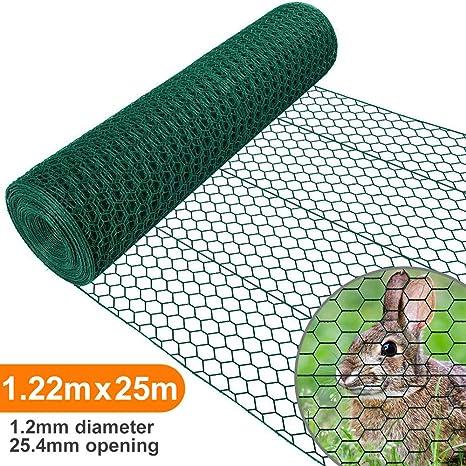 Amagabeli 1.22M X 25M Malla de Alambre Hexagonal 25.4mm Red Hexagonal Verde Valla de Jardín Metalicas Alambre HC05: Amazon.es: Bricolaje y herramientas