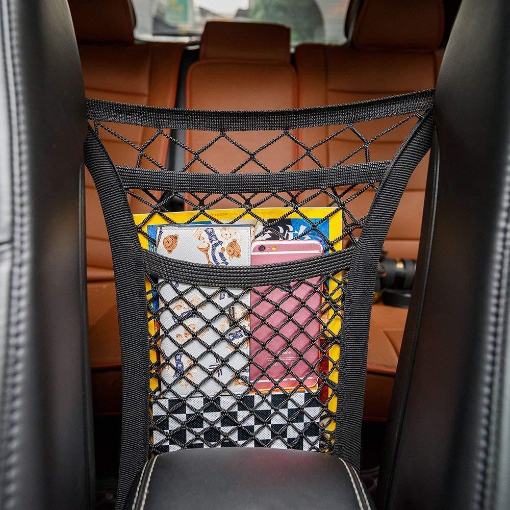 Cargo Tissue Purse Holder Barrier of Backseat Pets Children Kids Seat Back Net Bag Rideshare Drivers Must Have It 3-Layer Car Mesh Organizer