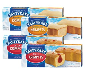 Tastykake Butterscotch or Jelly Krimpets Family Size 12-Pack, 12 oz. Box- A Philadelphia Baking Institution (Variety Pack, 4 Pack)