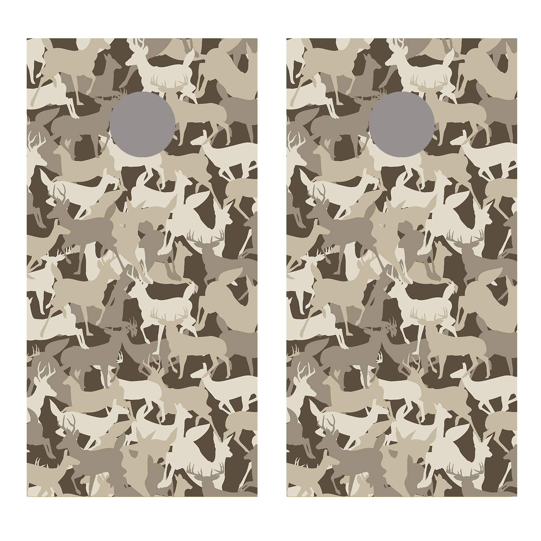 Let's Print Big Deer Head 砂漠迷彩 コーンホールボード デカール ラップ B07GDSXM79 ラミネート