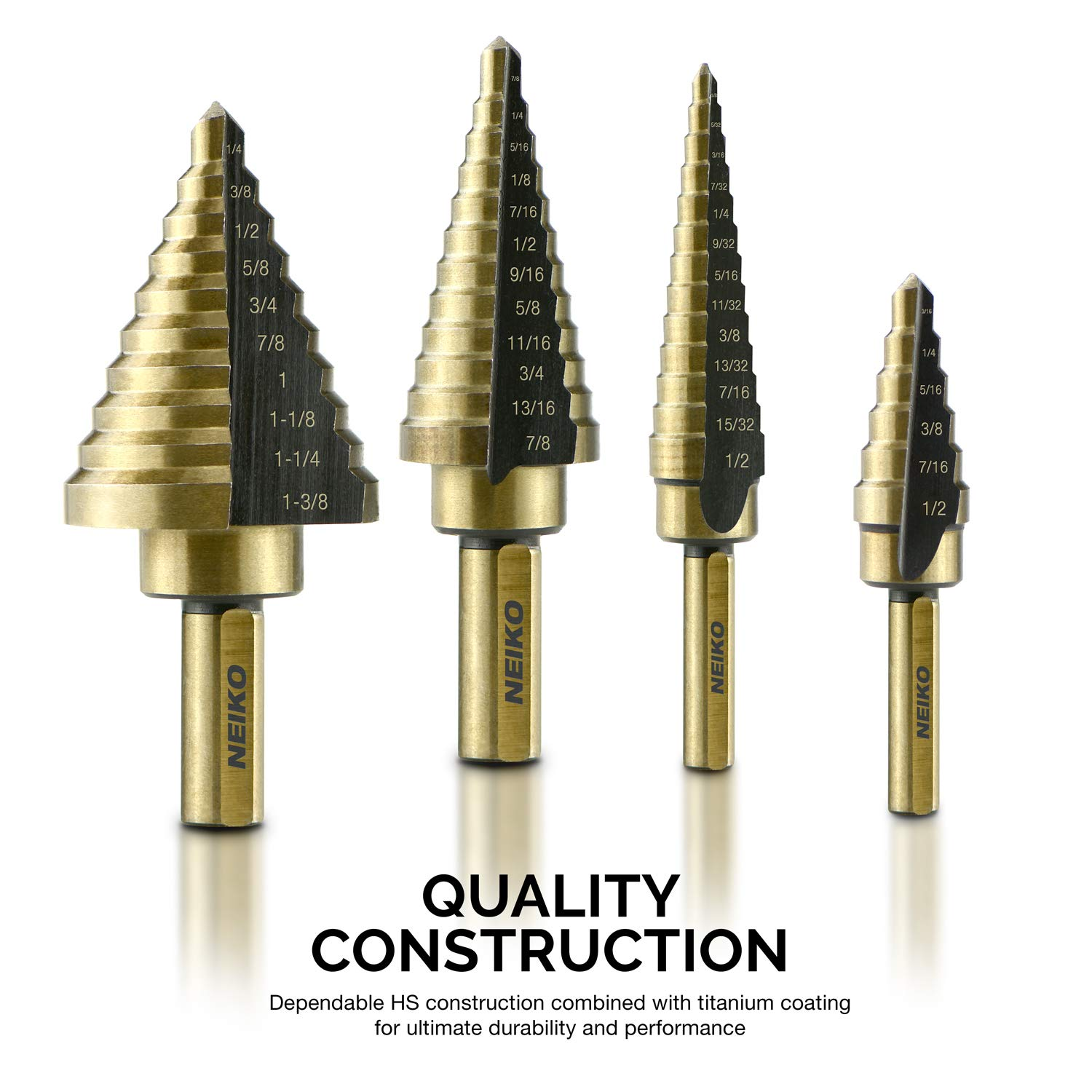 Amazon.com: Neiko 10169A Titanium Step Drill Bit Set with Automatic Center Punch, 5-Piece | High Speed Steel | SAE | Total 41 Sizes: Home Improvement