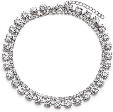 VZBarn Clear Rhinestone Choker Necklace for Women Bridal Wedding Jewelry Silver Tone