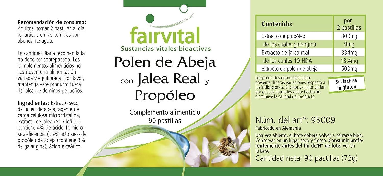 El polen de abeja con jalea real y propóleos - durante 45 días - ALTA DOSIS - 90 tabletas: Amazon.es: Salud y cuidado personal
