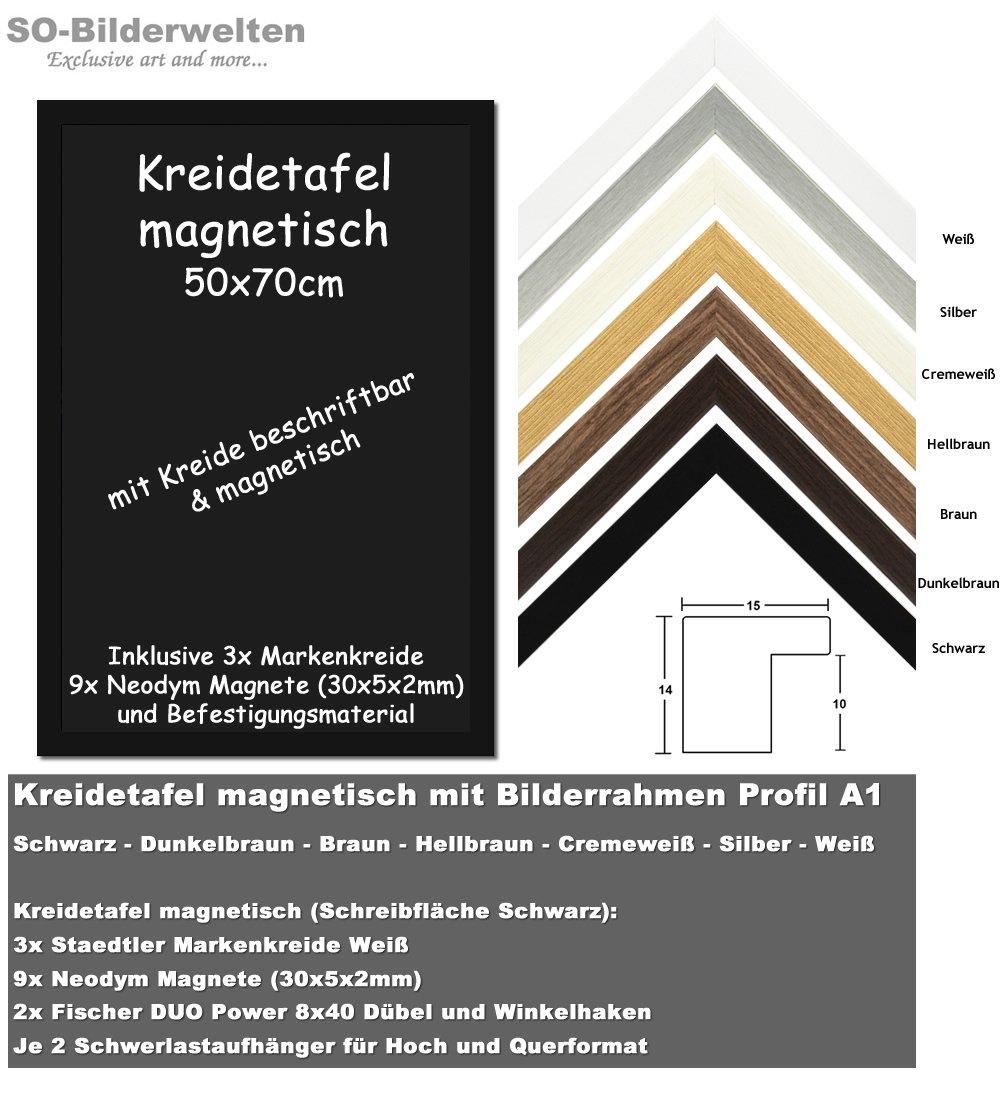 Kreidetafel magnetisch Schwarz mit Bilderrahmen 50x70cm in Schwarz ...
