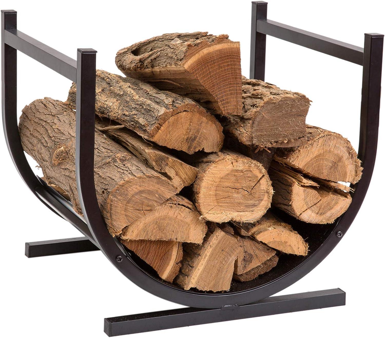 Doeworks Small Decorative Indoor Outdoor Firewood Racks Fireside Log Rack Black Home Improvement