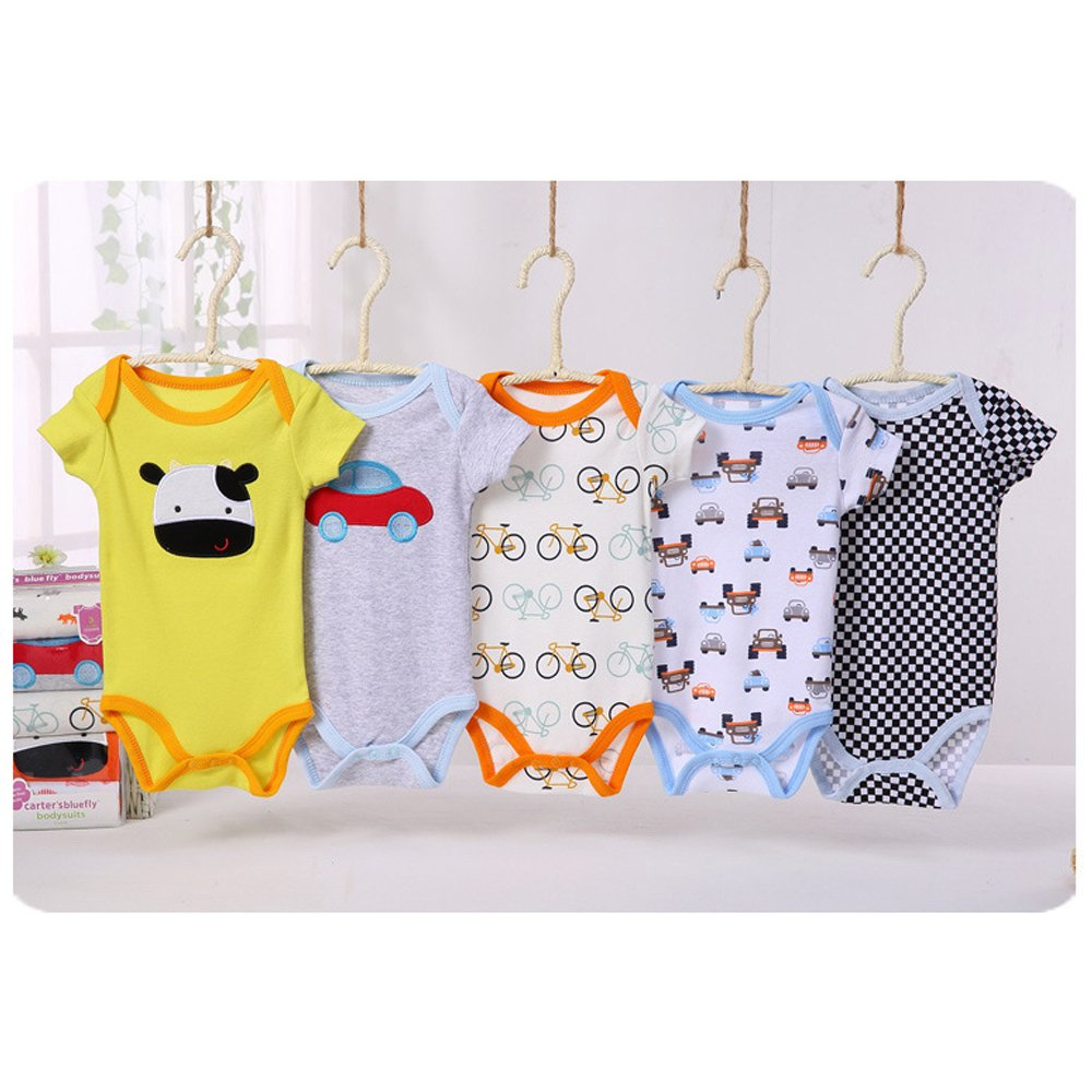 BOZEVON Baby Boys Girls Comfortable Long//Short Sleeve Bodysuit Onesies Baby Romper 0-24 Months Pack 5