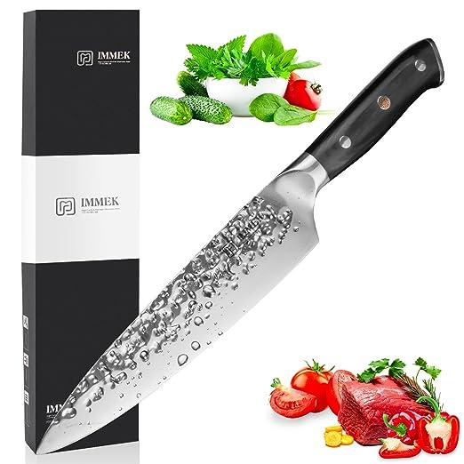 IMMEK Cuchillo Chef Profesional Acero Inoxidable de para Carnes Fruta Verdura, Cuchillo Cocinero Mango Ergonómico y Comodo para la Cocina de Casa o ...