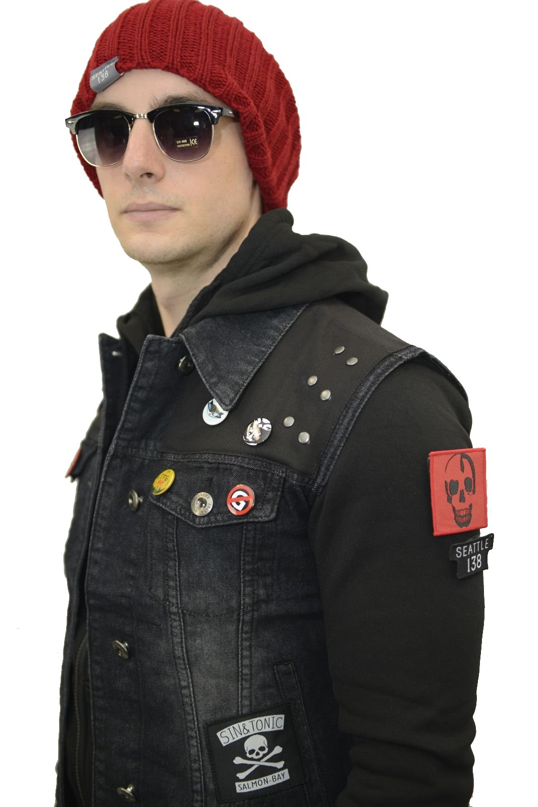 Infamous Second Son Costume Complete Jacket Vest Beanie Cap Delsin Rowe Tattoo (M) by thecostumebase
