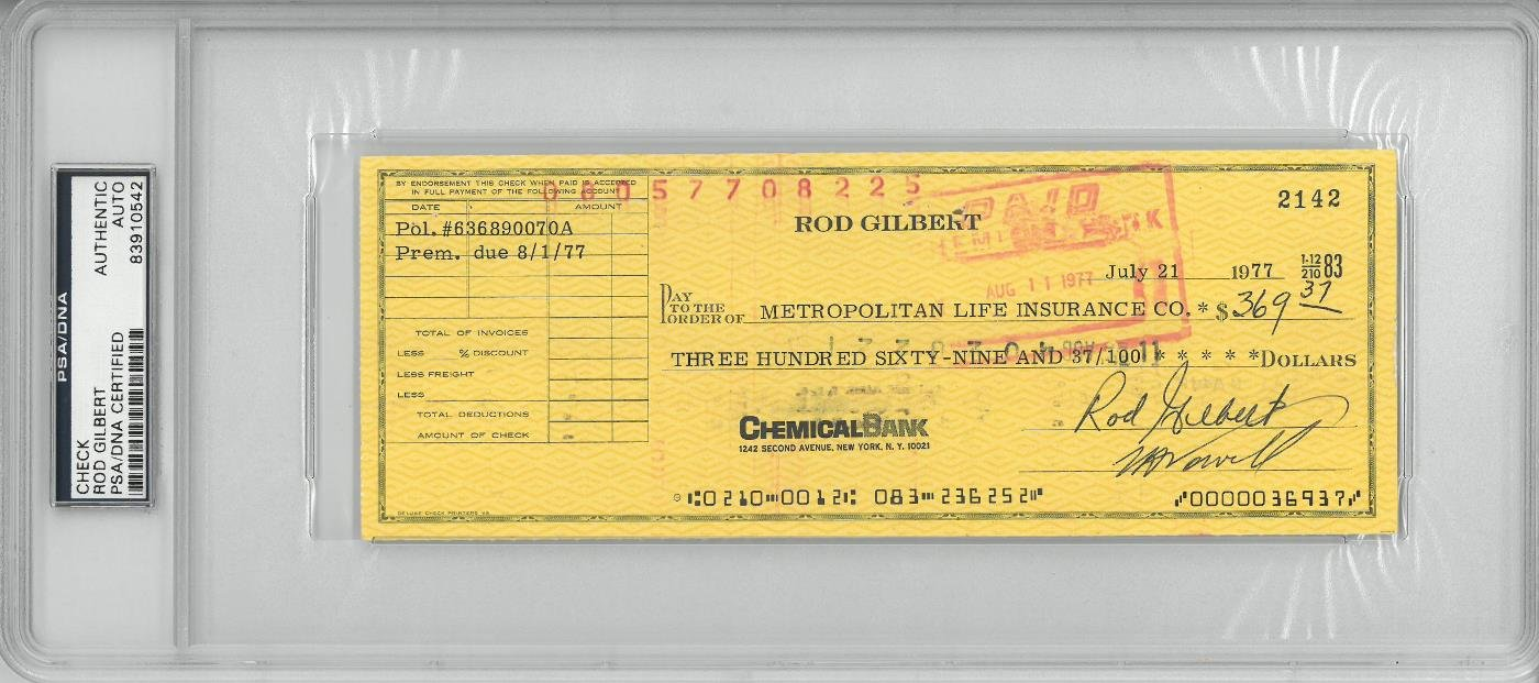 Rod Gilbert Signed Authentic Autographed Check Slabbed PSA/DNA #83910542