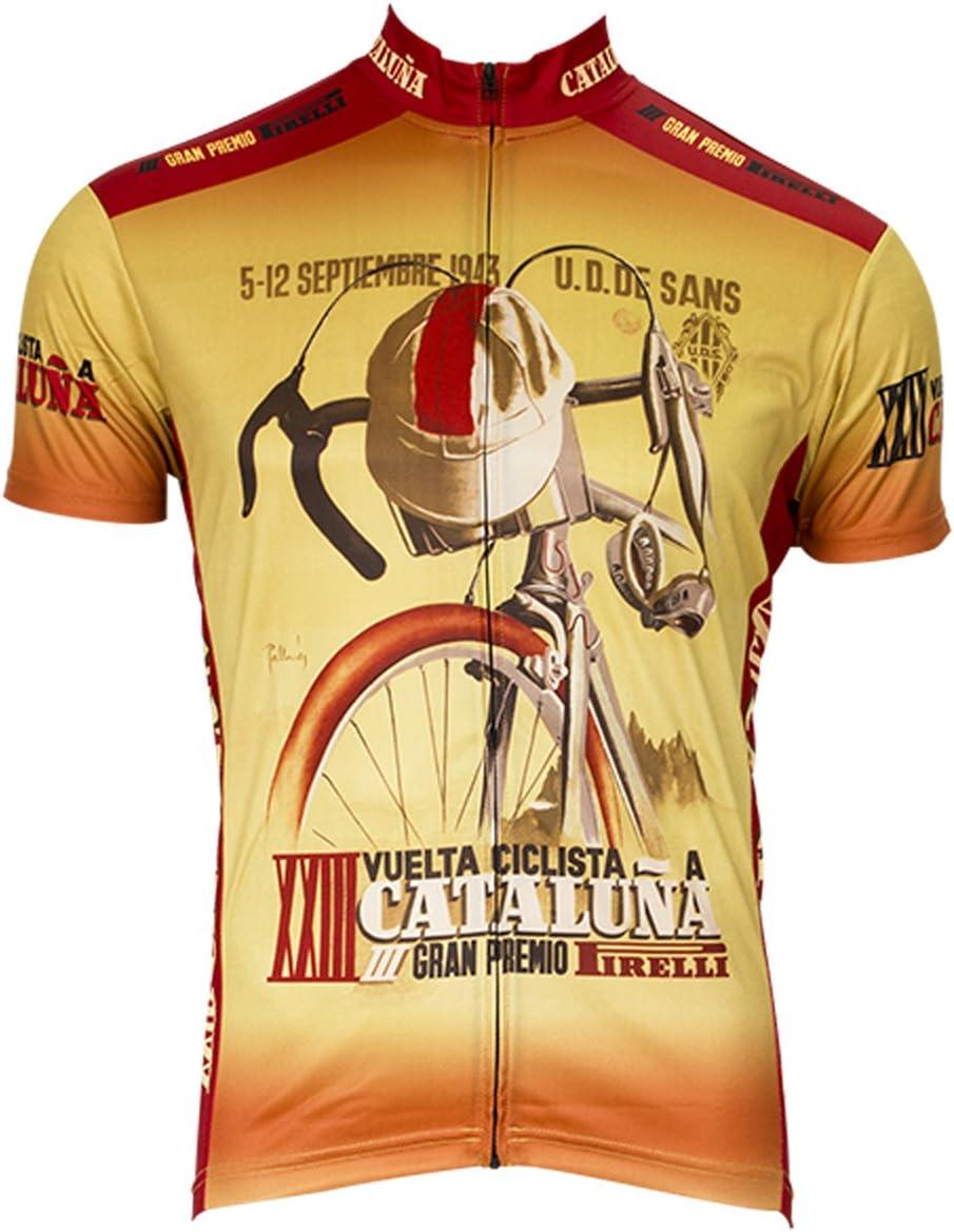 Retro Image Apparel 1943 Vuelta Cataluna - Camiseta de Ciclismo para Hombre, Color Crema/Rojo, Talla Grande: Amazon.es: Ropa y accesorios
