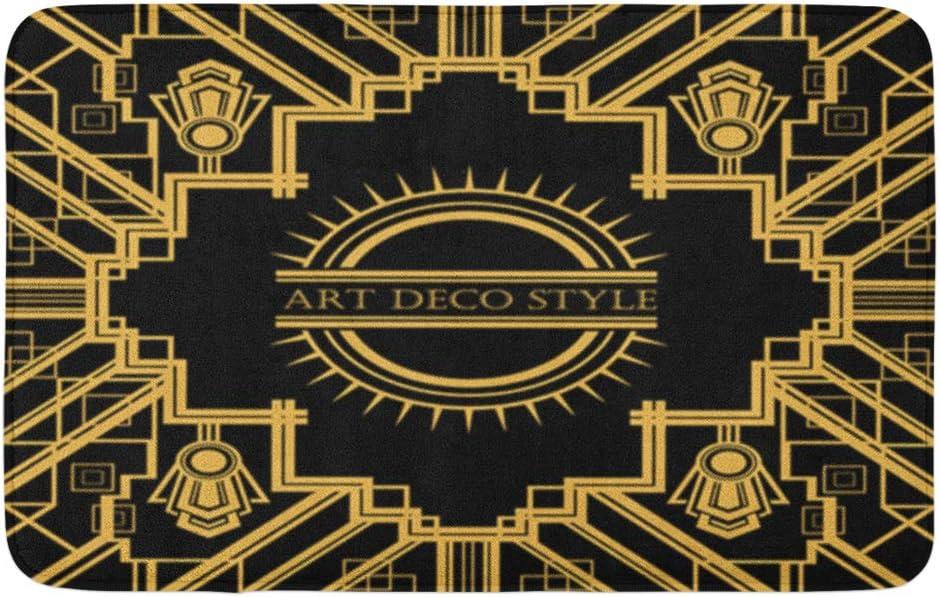 "Adowyee 20""x30"" Bath Mat Gatsby Vintage Retro Geometric Gold Great 1920 30S Abstract Cozy Bathroom Decor Bath Rug with Non Slip Backing"