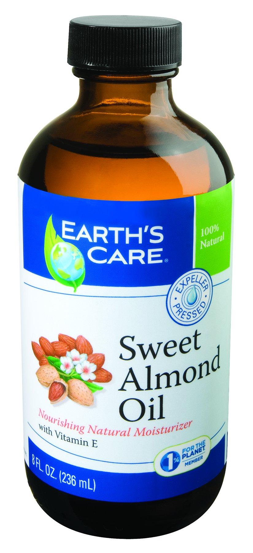 Earth's Care Sweet Almond Oil, Expeller Pressed, No Colors, Fragrances or Parabens, Vegan, Bottled in USA 8 FL. OZ.