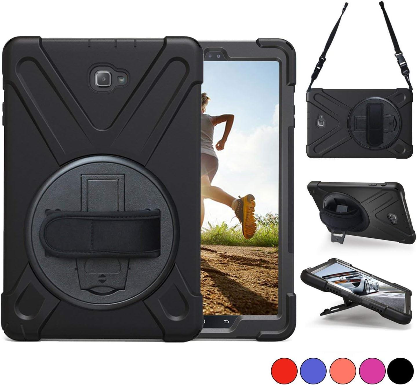 Galaxy Tab A 10.1ケース, TSQ Heavy Duty、頑丈な保護ケースwith Shoulderストラップ/手ストラップ/ 3層回転スタンド、耐衝撃シリコンハードタブレットケースカバーfor Kids Chlidren (ブラック)