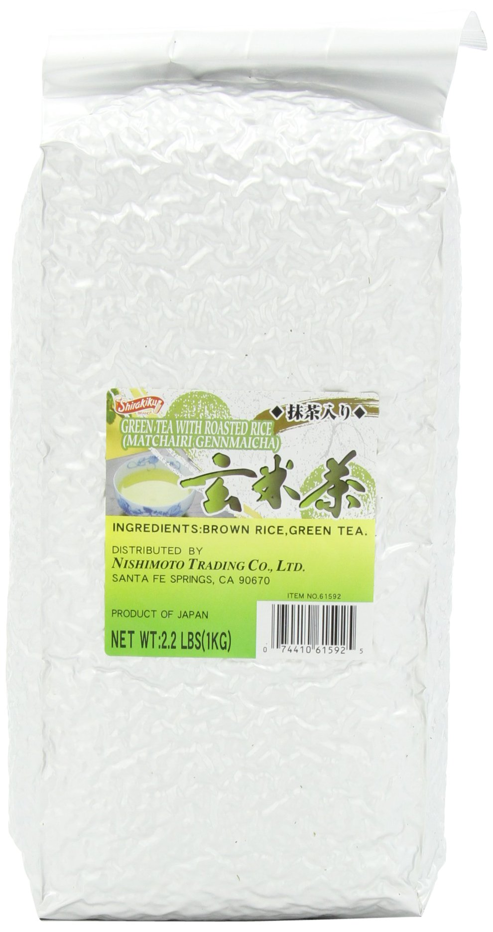 Shirakiku Green Tea with Roasted Rice, Matchairi , Genmaicha, 2.2-Pound Packages (Pack of 2)