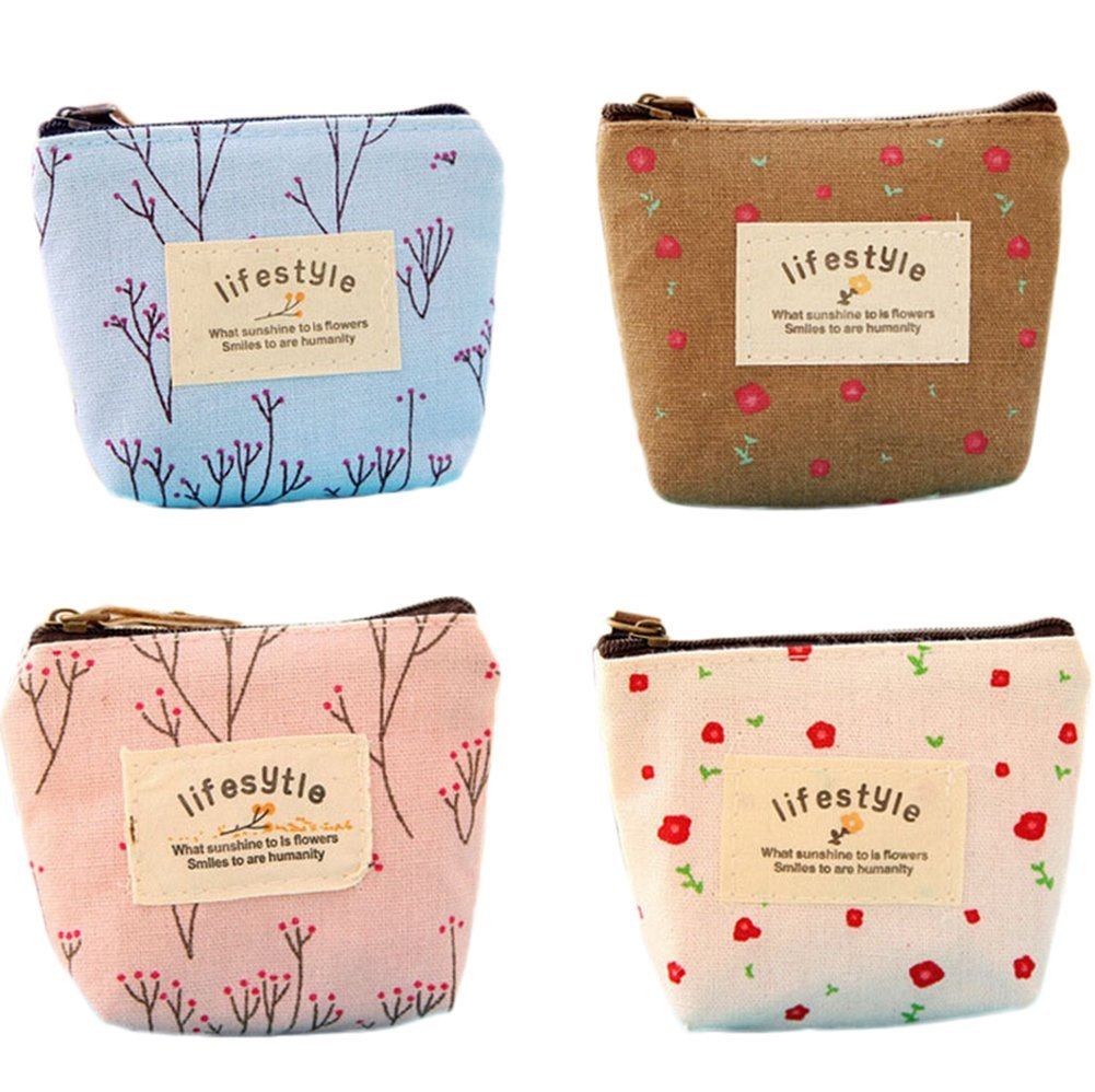 4xNamgiy Coin Purse Mini Wallet Cosmetic Makeup Bag Pouch Brush Bag Pen Pencil Case Storage Bag Organiser Portable Canvas Bag for Travel Gifts