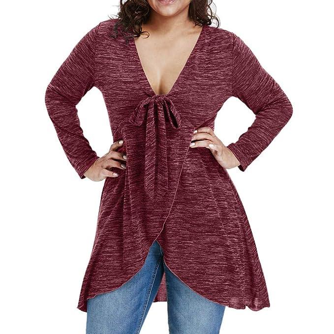 Damen Mode V-Hals Solid Beiläufig Langarmshirts Bluse Oberteile Sweater Jumper