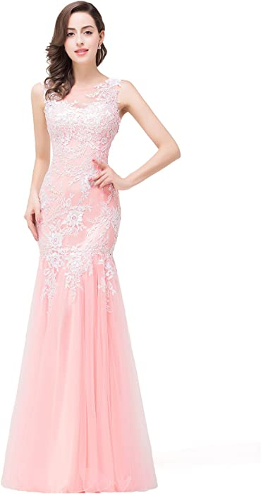 d856f0891e Babyonlinedress Lace Appliques Mermaid Long Formal Dresses For Women  Evening