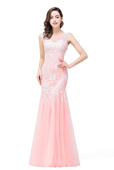 Babyonlinedress Lace Appliques Mermaid Prom Dresses 2018 Formal
