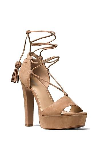 3f67dc9cc353 Michael Michael Kors Rosalie Suede Lace-Up Platform Sandal (8.5) Dark Khaki