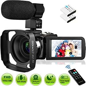 """Video Camera Camcorder with Microphone, Rosdeca Vlogging Camera FHD 1080P 36MP 30FPS IR Night Vision 3.0"""" IPS Touch Screen 16X Digital Zoom Digital Camera Webcam Recorder YouTube Camera"""