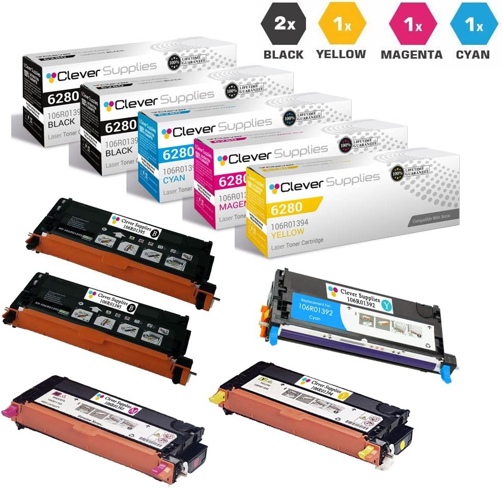 CS Compatible Toner Cartridge Replacement for Xerox 6280 106R01395 Black 106R01392 Cyan 106R01393 Magenta 106R01394 Yellow for Phaser 6280 Phaser 6280DN Phaser 6280N 5 Color Set