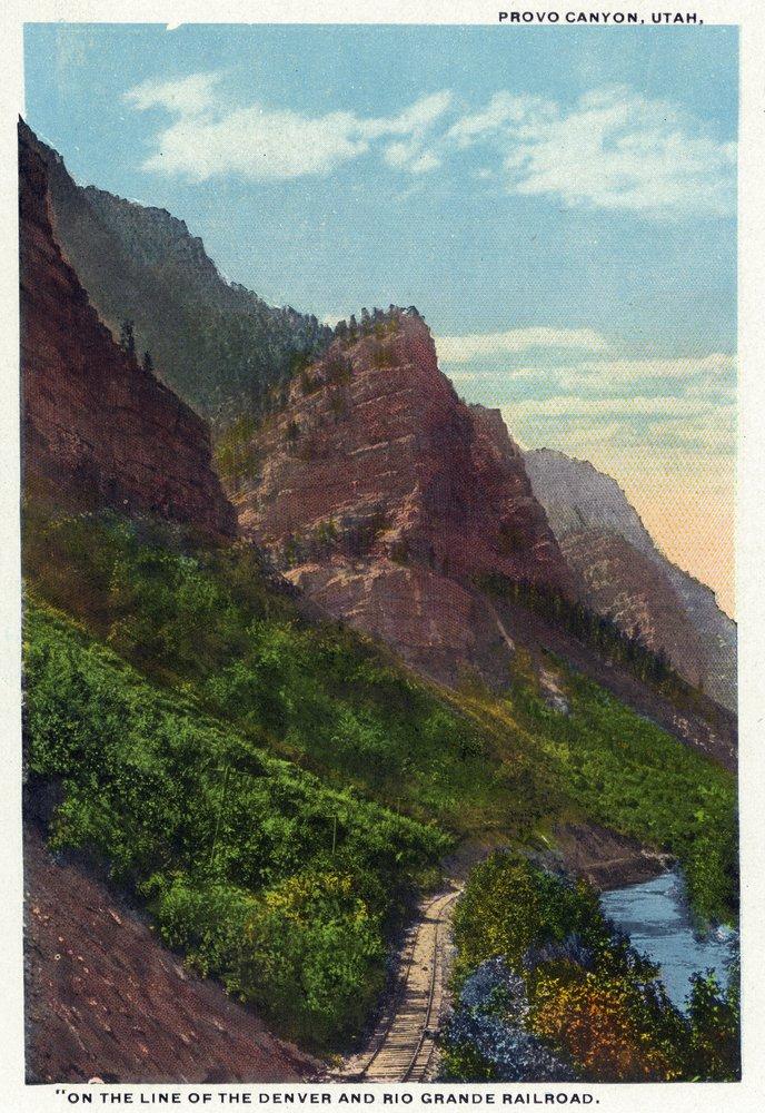 Provo Canyon , Utah – 風景、デンバーに沿ってRio Grande Railroad 36 x 54 Giclee Print LANT-29405-36x54 36 x 54 Giclee Print  B01MG3F56U