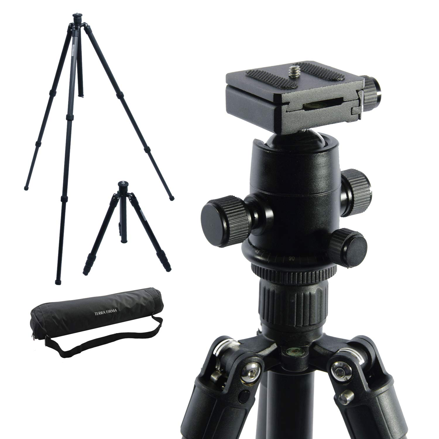 TERRA FIRMA TRIPODS T-CF300-BH280 Carbon Fiber 3 Section Tripod Leg Set with Ball Head BH280, Black