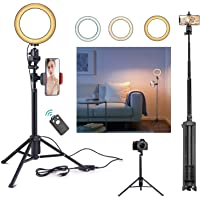 Rimposky 16 cm Selfie Ring Light with Tripod & Cell Phone Holder, Dimmable Led Camera Ringlight with Tripod Stand for…