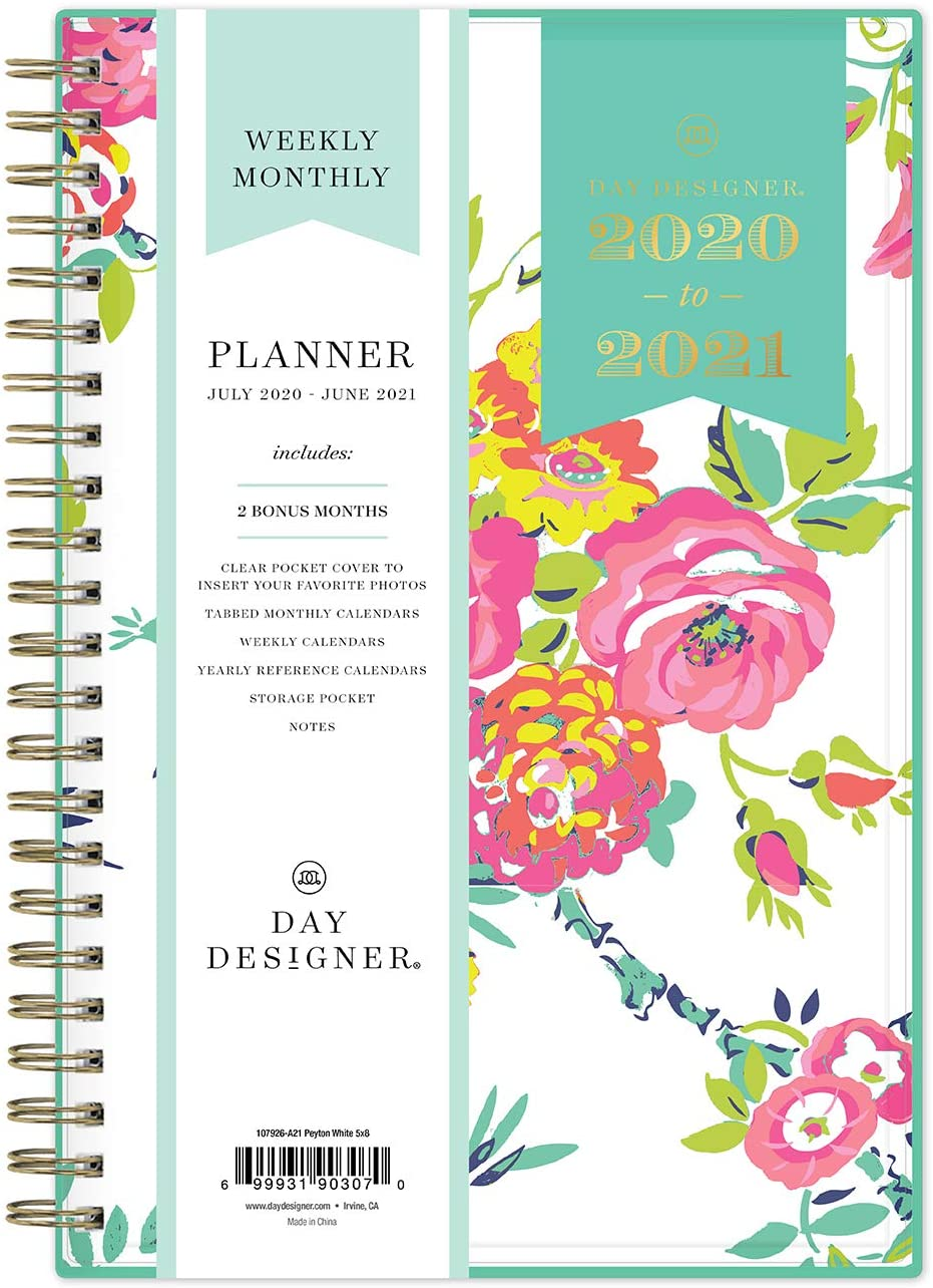 "Day Designer for Blue Sky 2020-2021 Academic Year Weekly & Monthly Planner, Flexible Cover, Twin-Wire Binding, 5"" x 8"", Peyton White, Model: 107926-A21"
