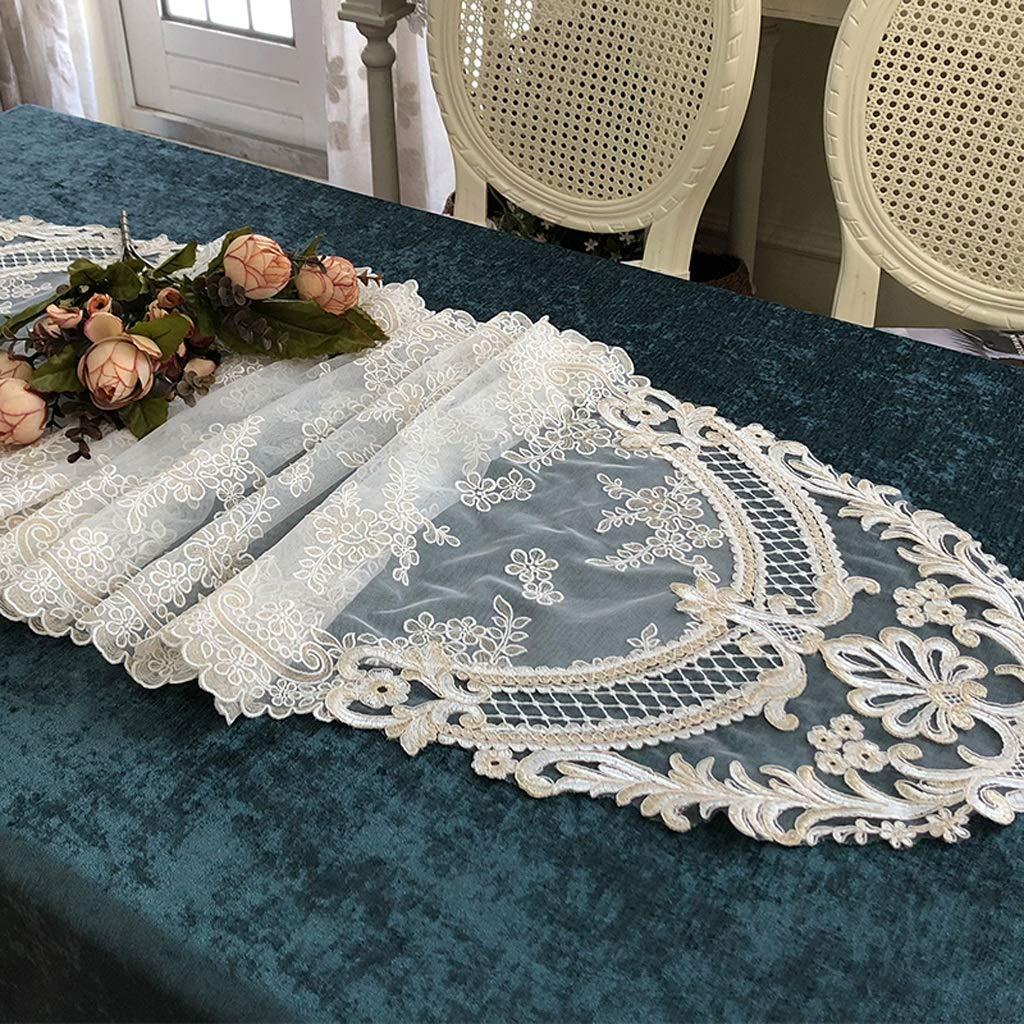 Zfggd Banners de Mesa de Encaje Hemstitched Hechos a Mano Romántica Lace Banners Servilleta de Tabla (Tamaño : 43 * 150cm)