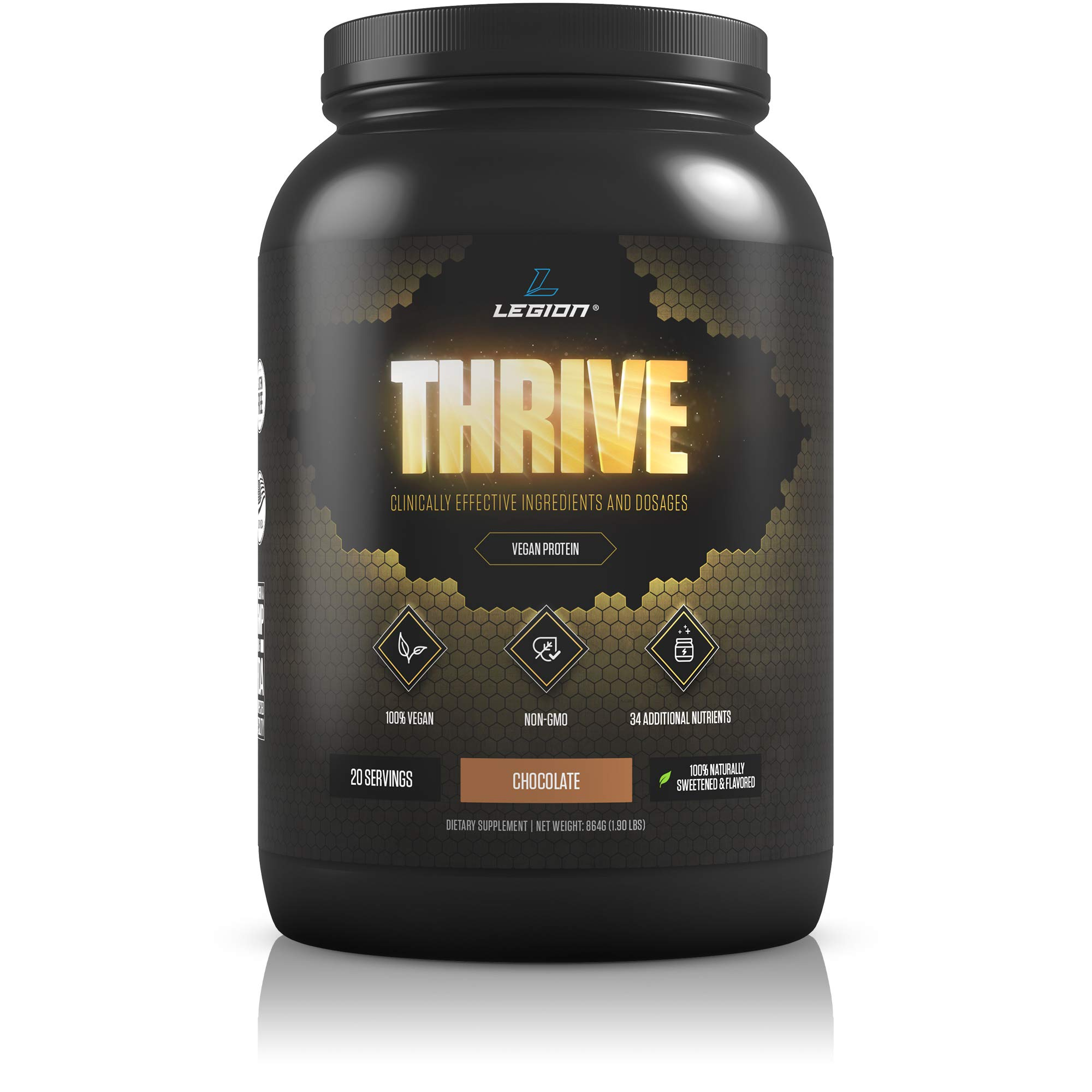 Legion Thrive Vegan Protein Powder, Chocolate - Rice and Pea, Plant Based Protein Blend. Gluten Free, GMO Free, Naturally Sweetened and Flavored, 20 Servings, 2 Lbs (Chocolate) by LEGION